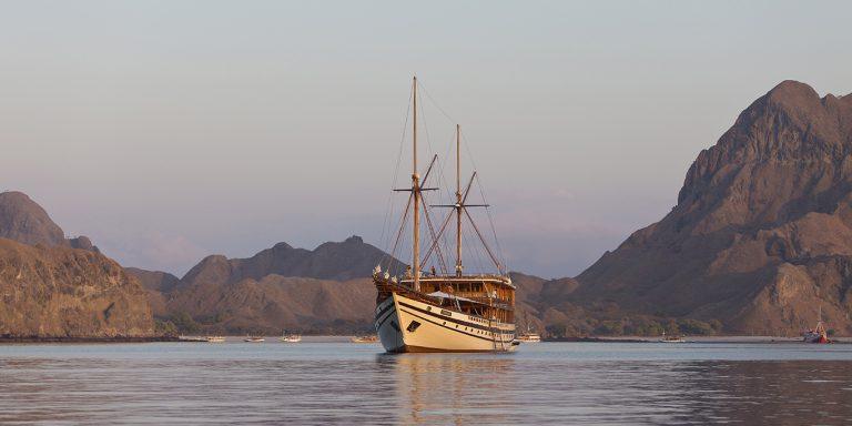 Prana by Atzaro timber phinisi off Padar Island.